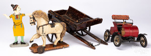 Painted wood horse and cart pull toy, etc.