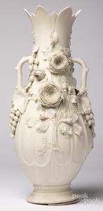 Large parian floral vase
