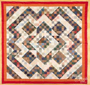 Pennsylvania patchwork log cabin variant quilt