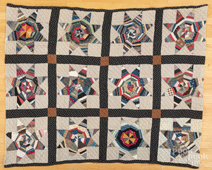 Patchwork star quilt, etc.