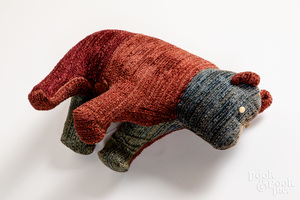 Fabric covered plush bear, etc.