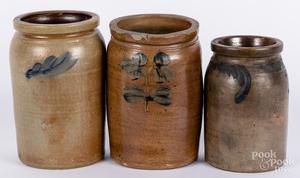 Three cobalt decorated stoneware jars