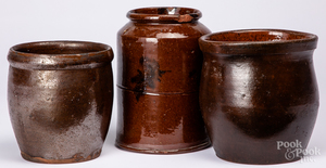 Three Pennsylvania redware crocks