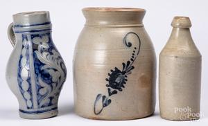 Cobalt decorated stoneware crock, etc.