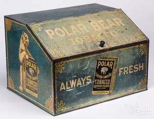 Polar Bear Tobacco country store advertising tin