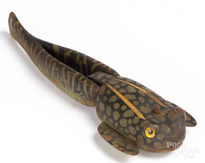 Carved and painted tadpole decoy