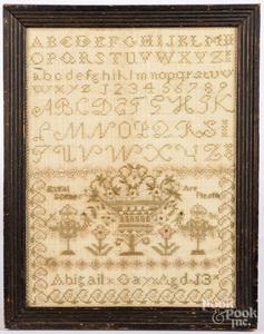 Small silk on linen sampler