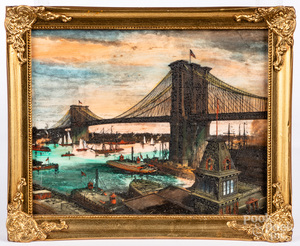Etched plaque of the Brooklyn Bridge