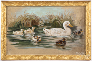 Oil on board primitive with ducks, etc.
