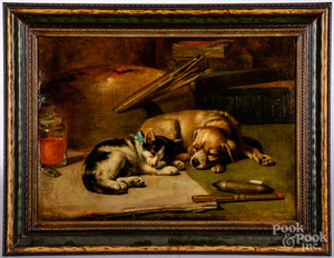 English oil on canvas dog and cat