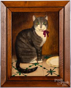 Two oil on board folk art cats