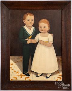 Two oil on board folk portraits