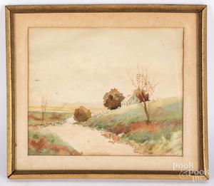 E.H. Howland watercolor landscape, etc.