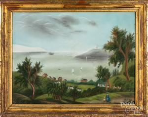 Hudson River pastel landscape
