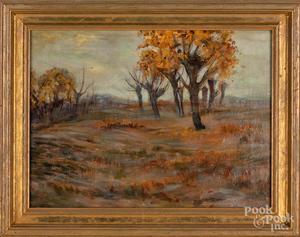 Amos Shontz, oil on canvas landscape