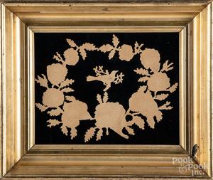 Victorian pinprick wreath, etc.