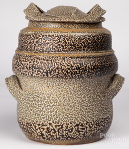Large studio pottery covered vessel