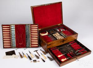 Civil War era cased dental tools