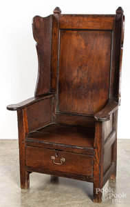George I oak armchair with drawer