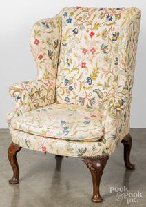 George II mahogany wing chair