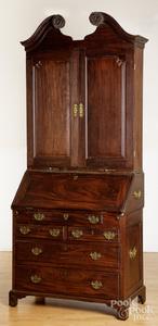 George II mahogany three-part secretary