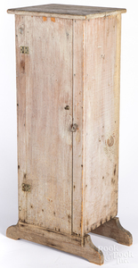 New England small grey painted pine cupboard