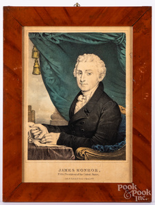 N. Currier color lithograph of James Monroe