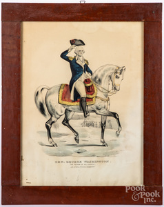 Two N. Currier color lithographs of Washington