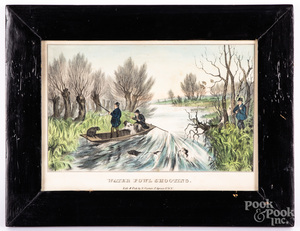 N. Currier Water Fowl Shooting color lithograph