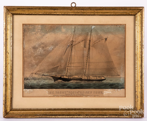 Two Currier & Ives Ocean Yacht Race lithographs