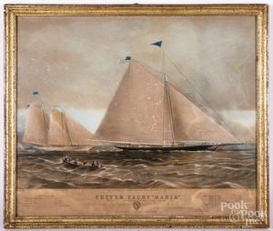 N. Currier Cutter Yacht Maria color lithograph