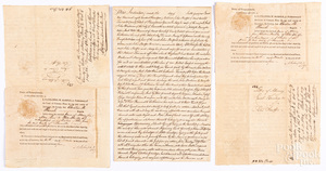 Group of early hand written legal documents