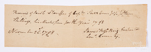 1798 Lancaster County signed receipt