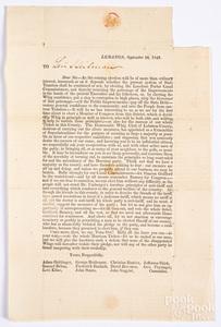 Lebanon County, Pennsylvania Democratic Whig party political letter