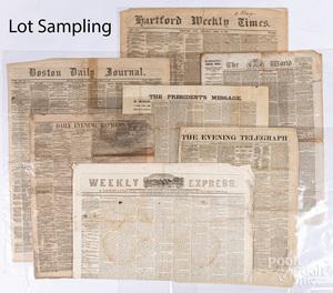 Twenty-three Civil War era newspapers