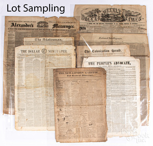 Large group of mid/late 19th c. newspapers