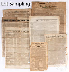 Group of mid 19th c. newspapers