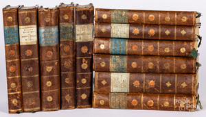 Eleven leather bound Neander religious texts
