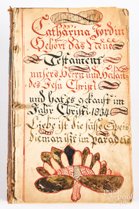 Pen and ink fraktur bookplate, etc.