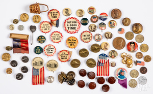 Group of political buttons, etc.