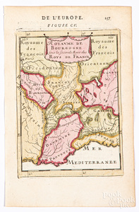 Mallet 1683 hand colored map of France