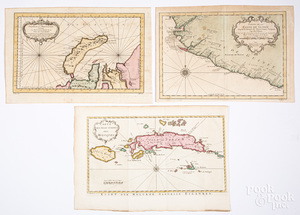 Three Bellin 1754 hand colored maps