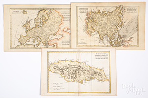 Three Bonne hand colored 1770 maps