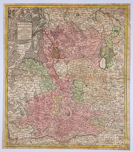 Seutteri 1730 hand colored map