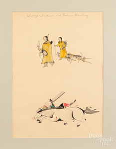 Four lithograph drawings of Sioux Indians