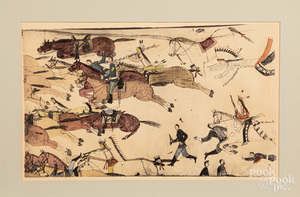 Three lithograph drawings of Custer's Last Battle