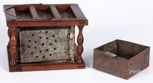 Walnut and punched tin footwarmer
