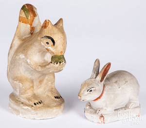 Pennsylvania chalkware rabbit and squirrel
