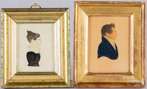 Two miniature pencil and watercolor portraits