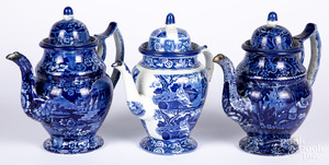 Three blue Staffordshire coffee pots